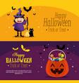 happy halloween set cards vector image vector image
