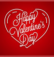 happy valentines day vintage linear on red vector image vector image