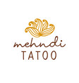 henna mehndi drawing ethnic tatoo studio logo vector image