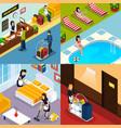 hotel service isometric icon set vector image