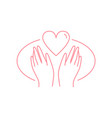 human hands with heart flat in vector image vector image