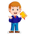 kids boy carrying book cartoon vector image