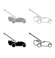 lawn mower icon outline set grey black color vector image