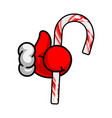 like christmas santas claus hand thumbs up symbol vector image vector image