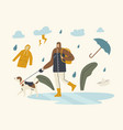 male character in cloak and boots walking with dog vector image vector image