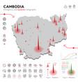 map cambodia epidemic and quarantine emergency vector image vector image