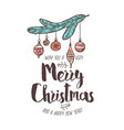 merry chridtmas and happy new year linear logo vector image vector image