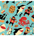 nautical pattern witpirates and sharks nautical vector image vector image