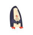 penguin standing with a smartphone cute animal vector image vector image