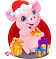 piglet with christmas gifts for the new year 2019 vector image vector image