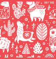 red christmas holidays seamless pattern with cute vector image vector image