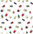 seamless pattern with cute bugs vector image