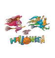 set girls enchantress on broom with cats for vector image vector image