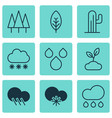 set of 9 landscape icons includes plant raindrop vector image vector image