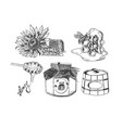 sweet monochrome honey collection set vector image
