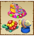 Three colorful figurines of sea creatures vector image vector image