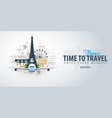 travel to france time to travel banner with vector image vector image