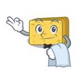 waiter gouda cheese pieces cartoon vector image vector image