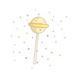yellow lollipop fun cartoon icon sweet vector image vector image