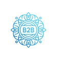 Mono line monogram or badge with floral ornament vector image