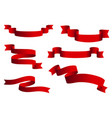 red glossy ribbon banners set ribbons vector image