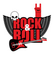 Rock and roll logo Electric guitar and skull Logo vector image
