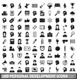 100 personal development icons set simple style vector image