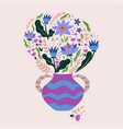 a bouquet flowers in vase graphics vector image