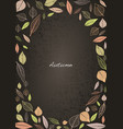 abstract fall leaves and doodle leaves frame vector image vector image