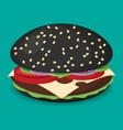 black hamburger flat design vector image vector image