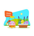 bunny in basket nestlings pecking on cereal vector image