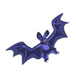 cartoon bat character flying with wings spread in vector image vector image