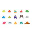 cartoon color winter hats and scarves headwear vector image