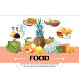 cartoon food template vector image vector image