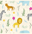 childish pattern with cute cartoon jungle animals vector image vector image