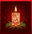 christmas card with a candle vector image