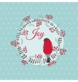 Christmas Card with Bird and Wreath vector image vector image