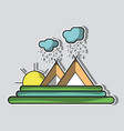 cloud raining with mountain and sun vector image vector image