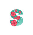 color letter s with beautiful flowers vector image vector image