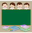 Cute student post smile on a chalkboard vector image vector image