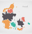 denmark map with states and modern round shapes vector image vector image