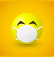 emoji with mouth mask coronavirus concept vector image vector image