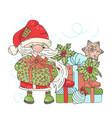 give gift santa new year cartoon card illus vector image