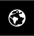 Globe icon on black background black flat style
