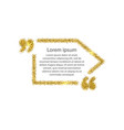 gold quotation mark speech bubble vector image vector image