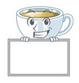 grinning with board ginger tea in a glass mascot vector image vector image