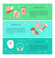 healthy lifestyle concept flyers template in flat vector image vector image