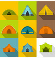 hiking tent icons set flat style vector image vector image