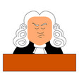 judge with wig on white background vector image vector image