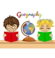 kids studying geography together reading books vector image